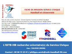 L'ESTB Handball recherche VOLONTAIRES SERVICE CIVIQUE