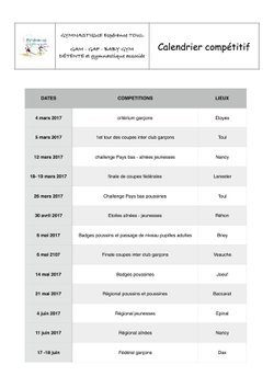 calendrier compétitif: mise à jour