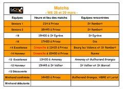 Matchs week-end 28-29 mars