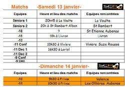 Matchs samedi 13 et dimanche 14 janvier