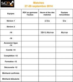 Matches samedi 27 septembre