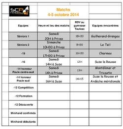 Matchs week-end du 4-5 octobre