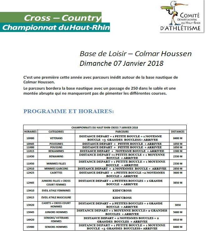 Cross départemental 2018 Colmar