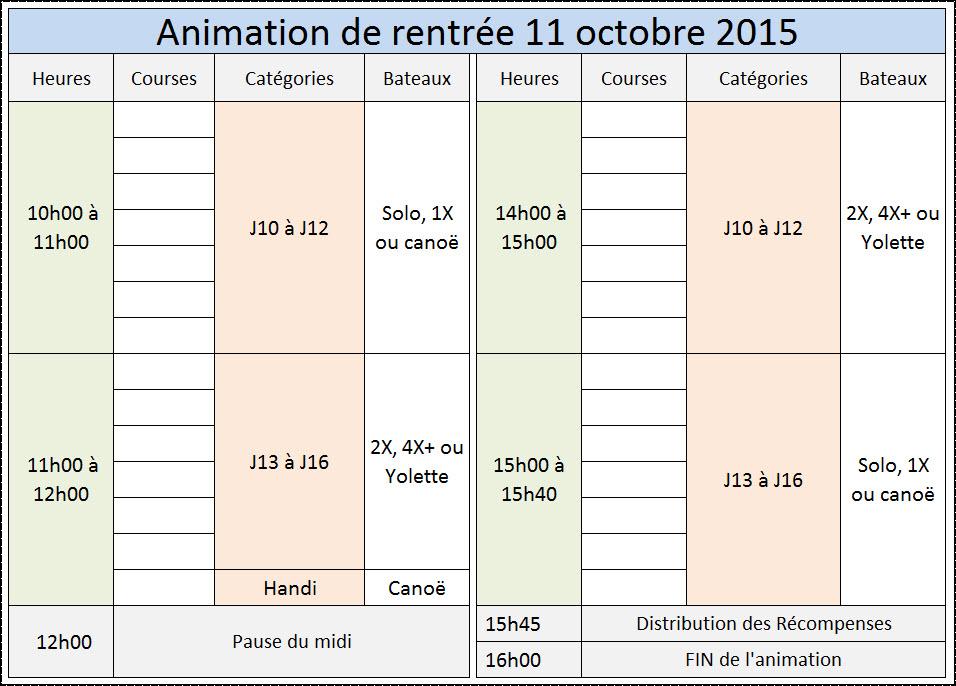 Prévision des horaires de l'animation