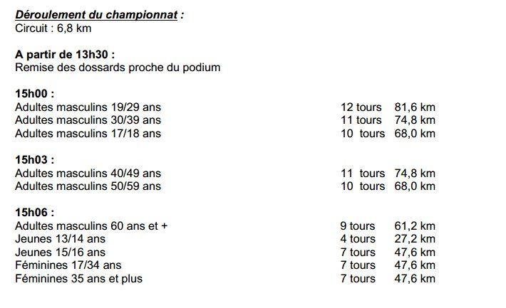 programme championnat départemental dimanche 4 mai à Montambert