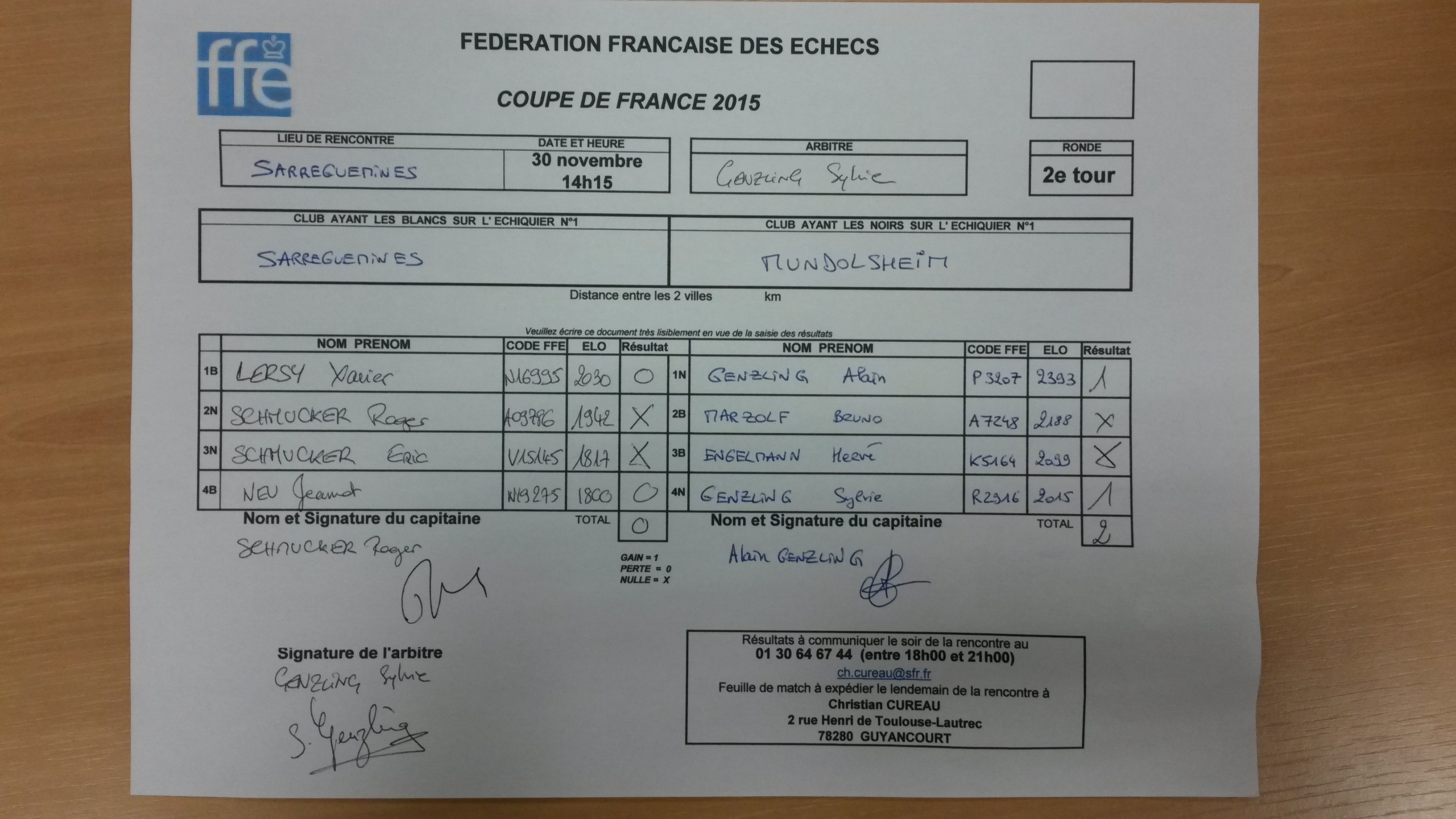 feuille de match 1