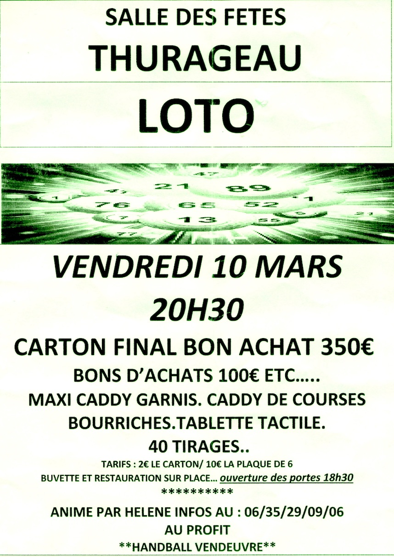 Affiche loto Thurageau vendredi 10 mars 2017