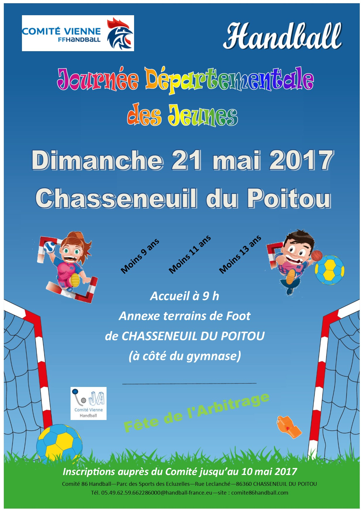 Affiche Journée Départementale des Jeunes 21 mai 2017 Chasseneuil du Poitou