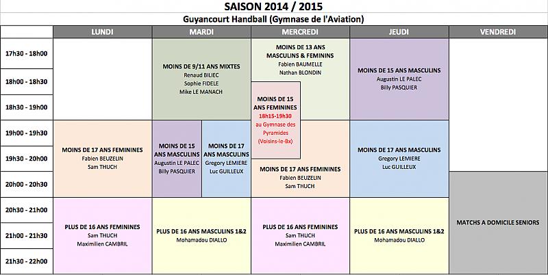 Créneaux 2014-2015