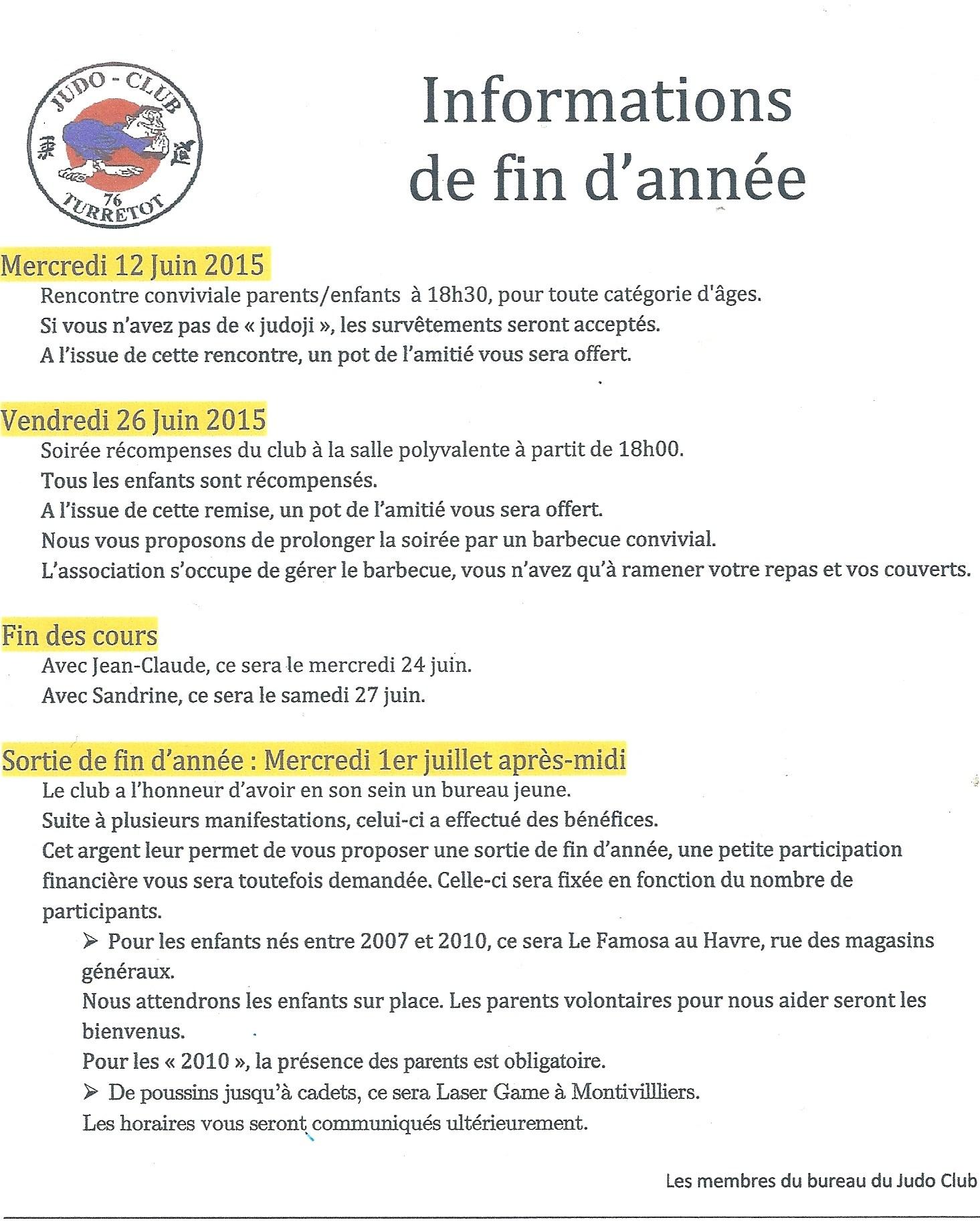 Informations de fin d'année !!!!