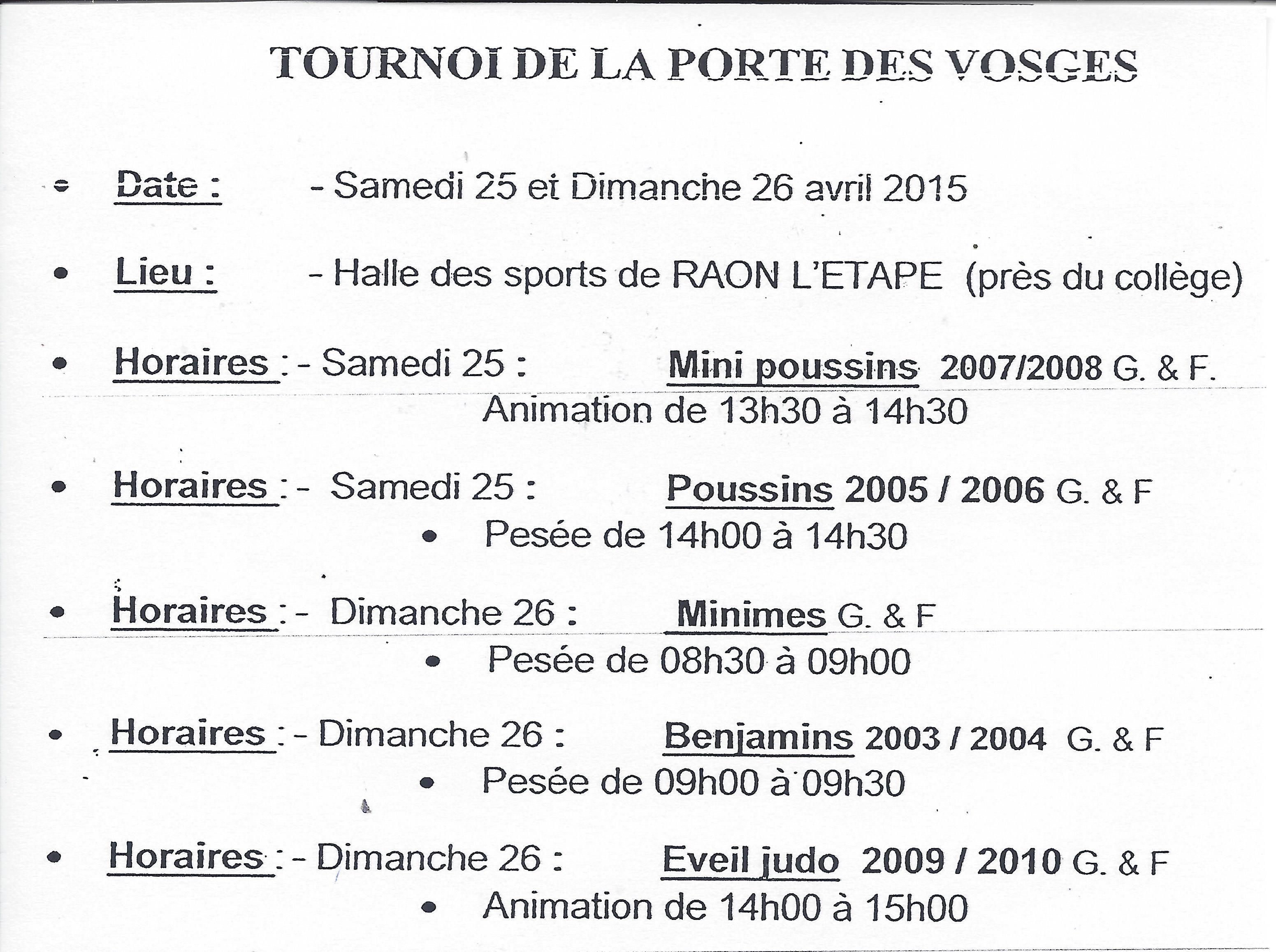 tournoi de la porte des Vosges