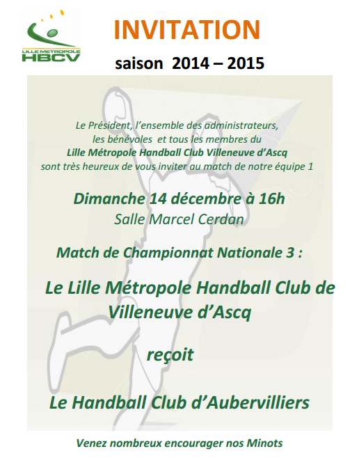 invitation Senior 1 - 14 déc 2014