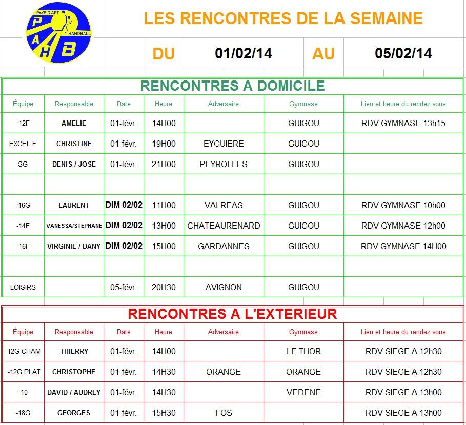 Planning week-end du 01 et 02 Février 2014