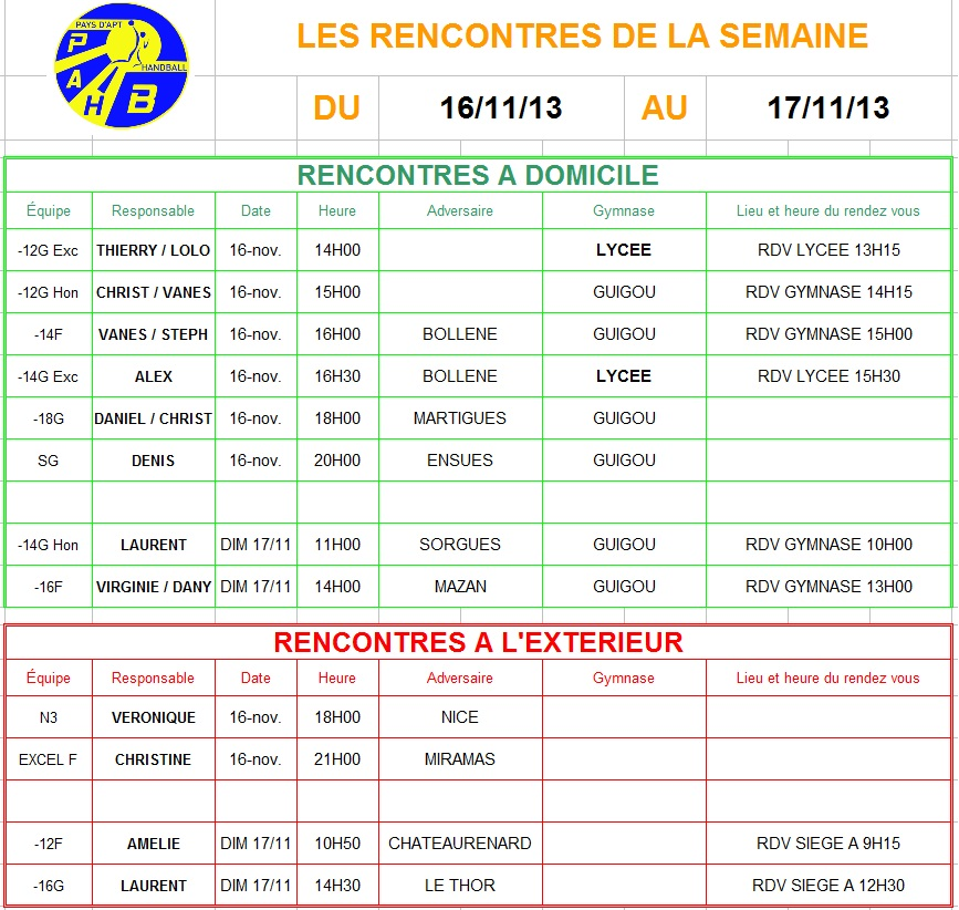 Planning week-end du 16 et 17 Novembre 2013