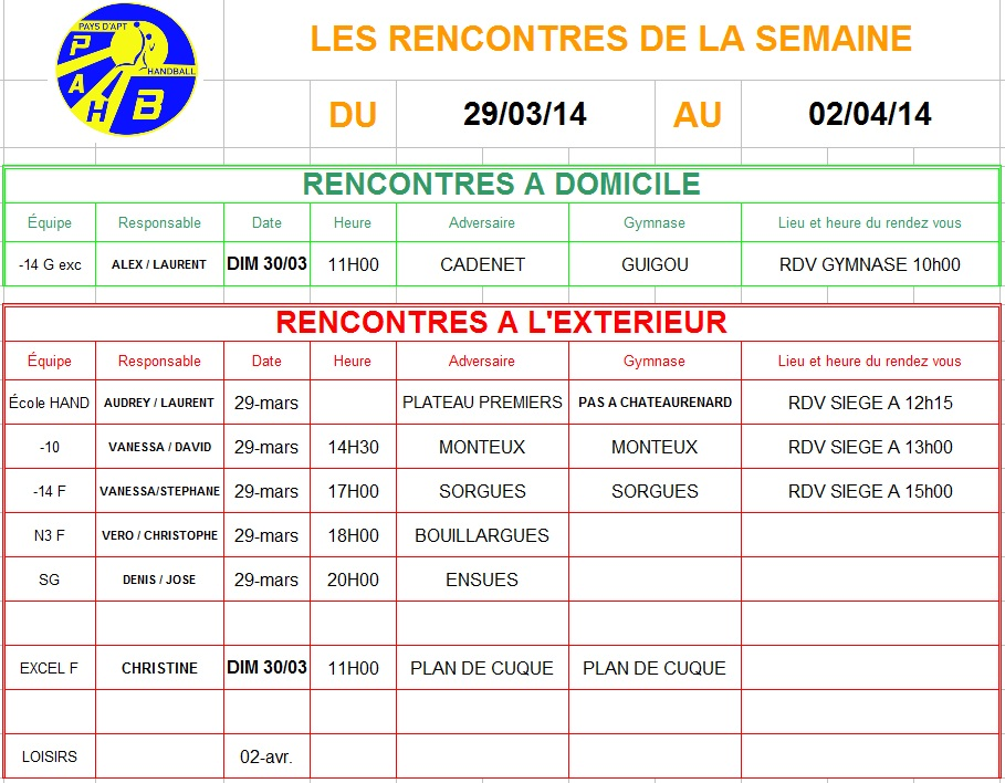 Planning week-end du 29 et 30 Mars 2014