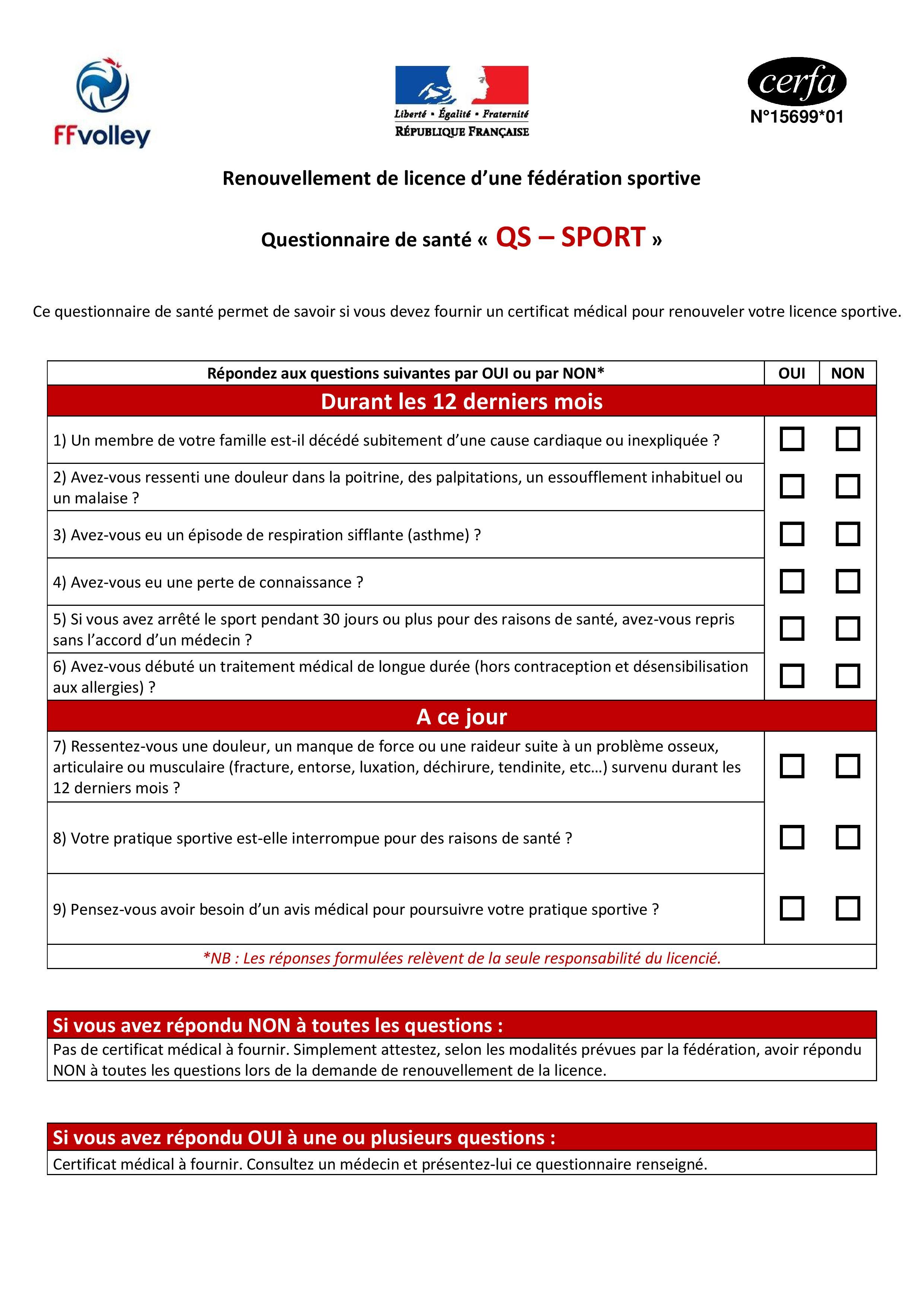 Questionnaire de santé FFVB
