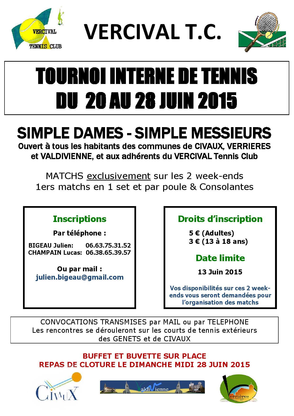 Affiche Tournoi interne 2015