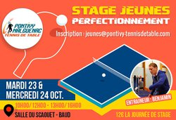 stage de tennis de table le 23 et 24 octobre 2018