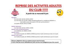 Reprise des activités adultes du club ce 9 juin 2021