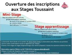 Mini-Stage et stage d'apprentissage toussaint 2018 - ouverture des inscriptions