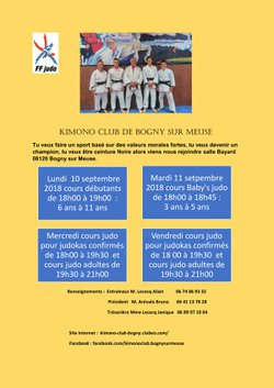 Reprise  du judo  septembre 2018