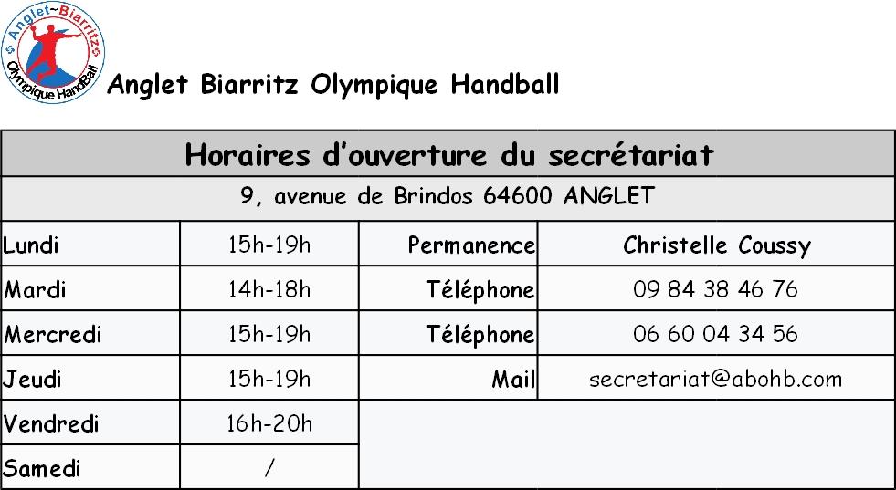 Contacts Et Horaires Bureau Club Handball Anglet Biarritz
