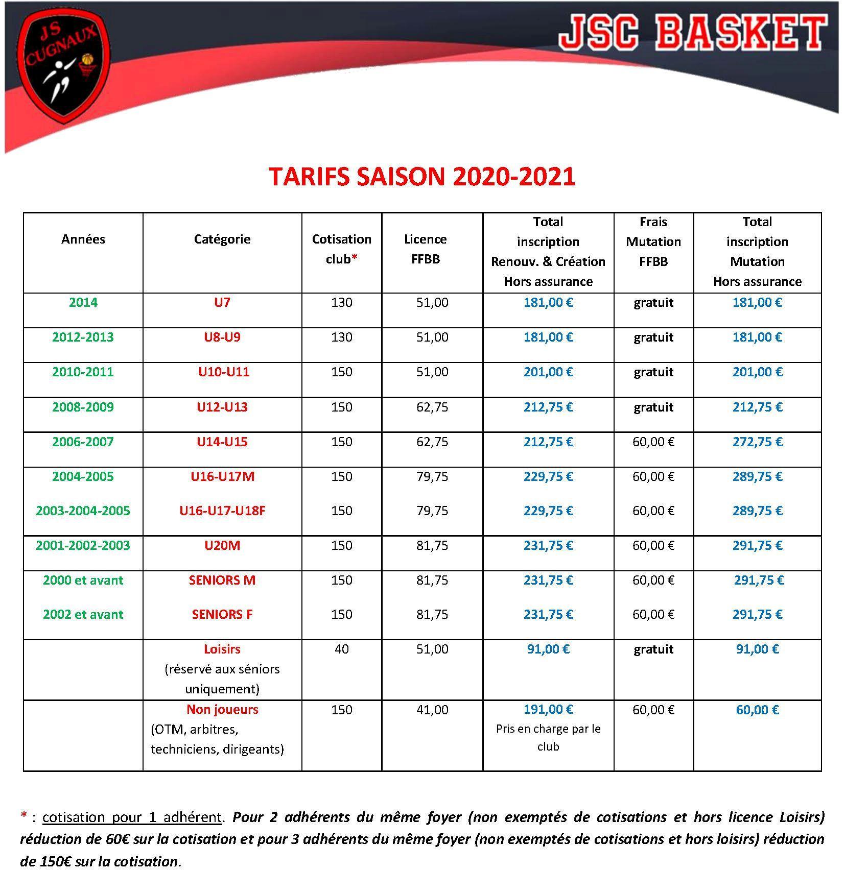TARIFS CLUB SAISON 2020-2021