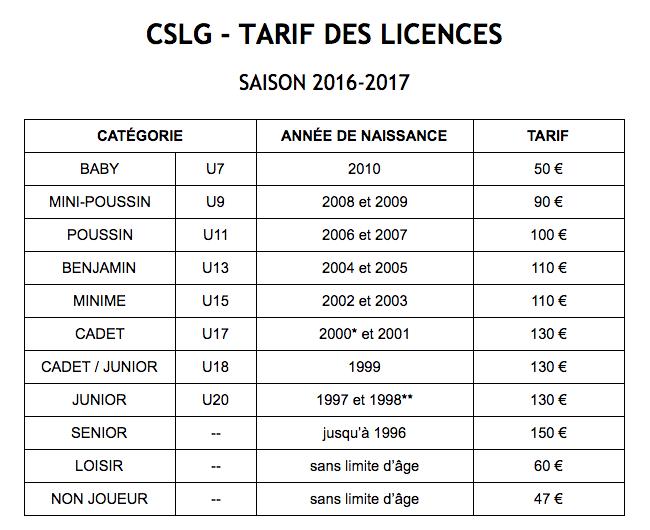 CSLG Tarif Licences 2016-2017