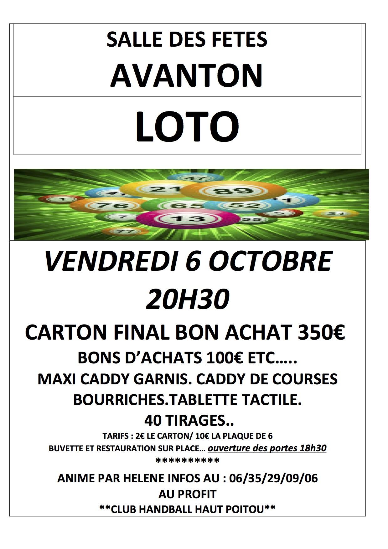 Affiche loto CHHP à Avanton 6 octobre 2017