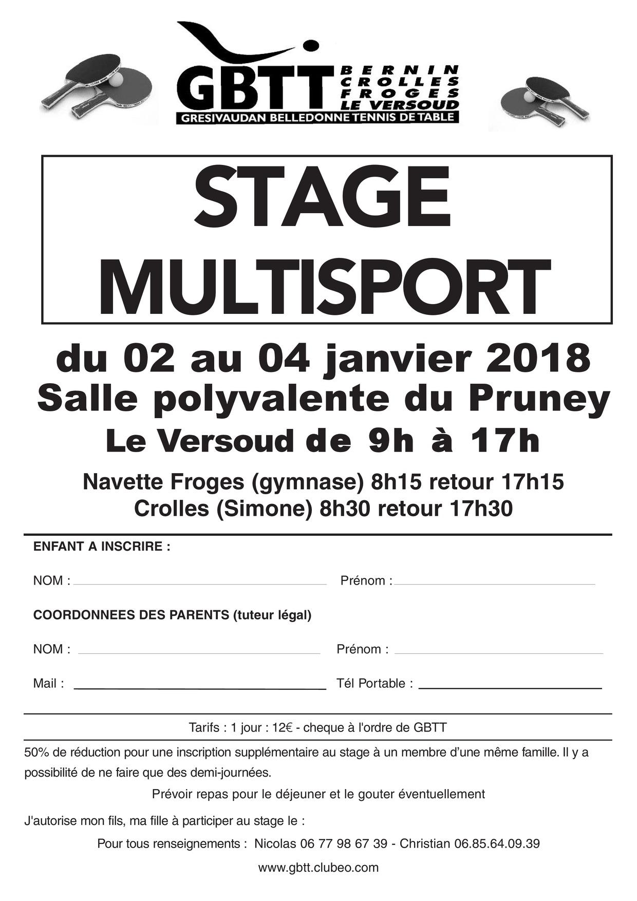 Actualite Stage Club Tennis De Table Gresivaudan Belledonne