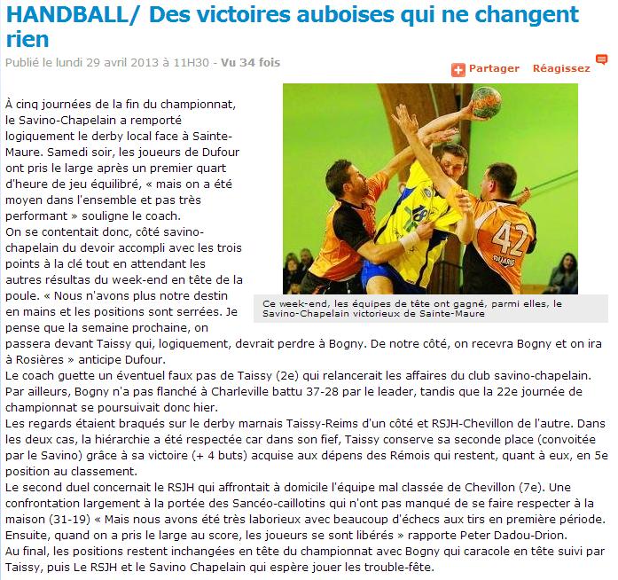 Article L'Est Eclair 29/04