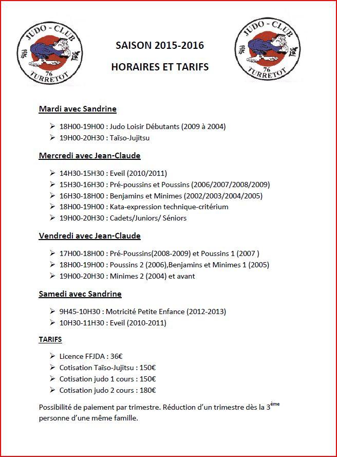 Horaires et tarifs saison 2015 / 2016