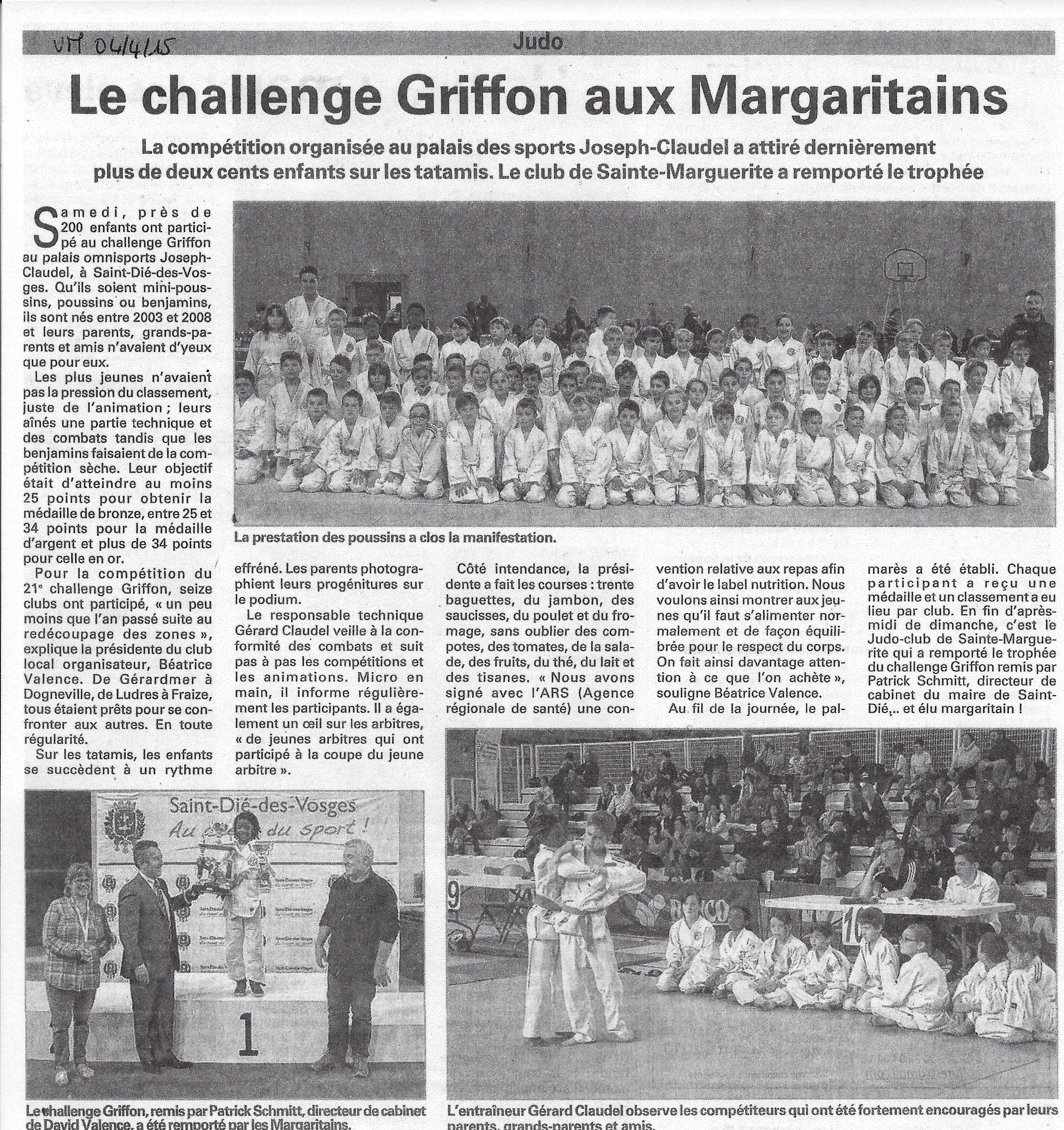 CHallenge Alain Griffon - article Vosges Matin du 4/4/15