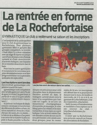 La rentrée en forme de La Rochefortaise