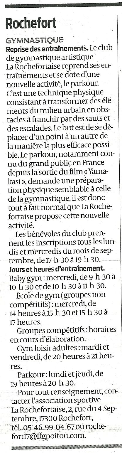 Rochefort, gymnastique, reprise des entrainements