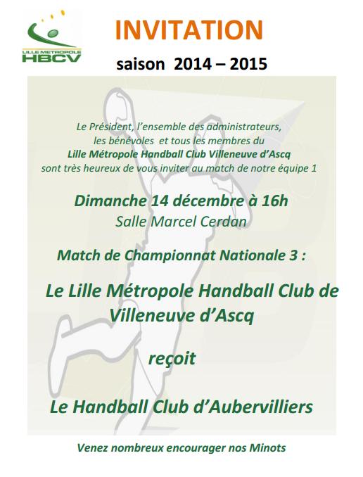 invitation Senior 1 - 14 déc 2014