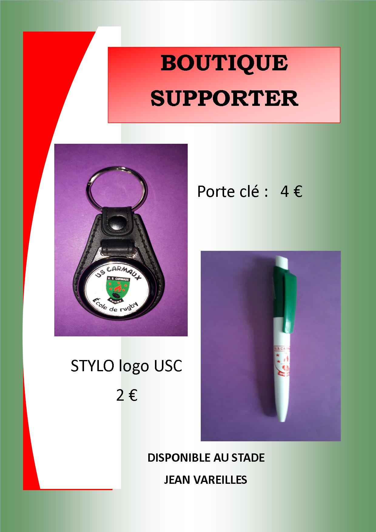 BOUTIQUE SUPPORTER: porte clé + stylo