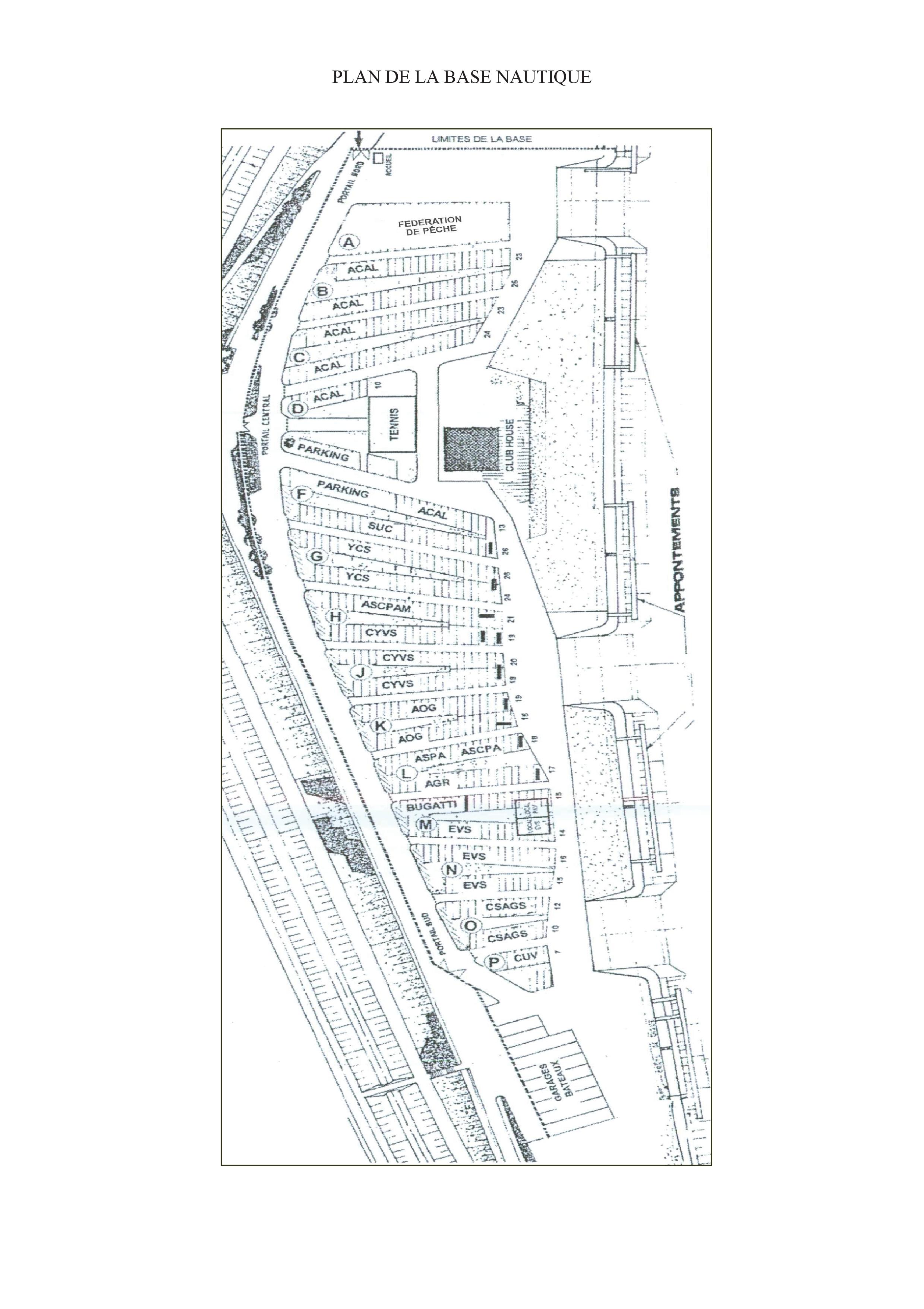 Plan de la Base Nautique de Plobsheim.