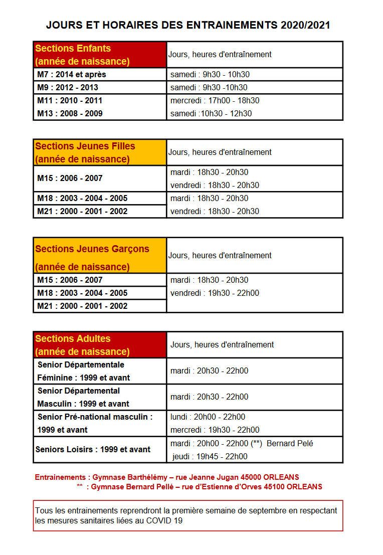 Horaires Entrainements USO VOLLEY 2020_2021