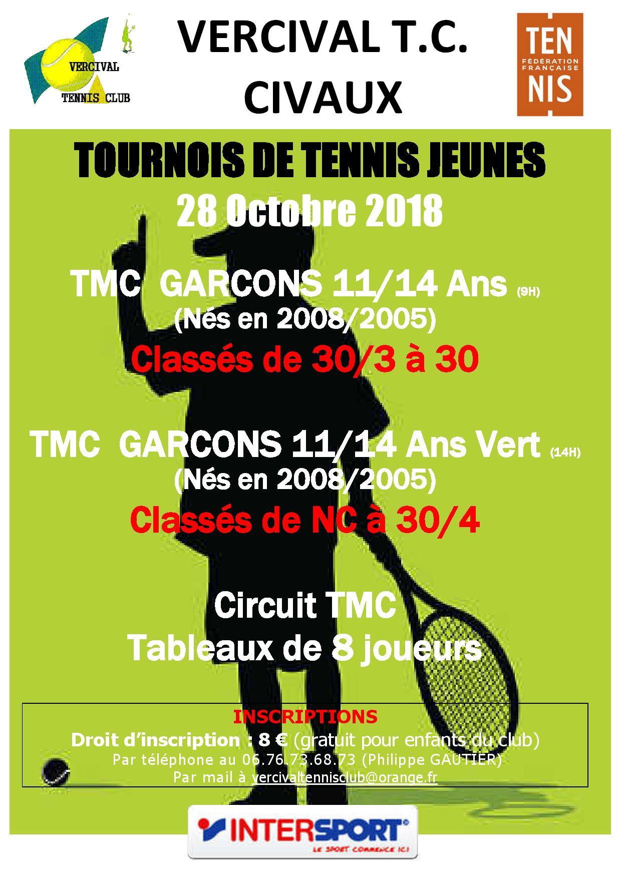 Calendrier Tmc Tennis 2021 Agenda   TMC 11 14 ans G de 30/3 à 30   club Tennis VERCIVAL